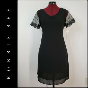 Robbie Bee Woman Short Sleeve Shift Mesh Dress 12P